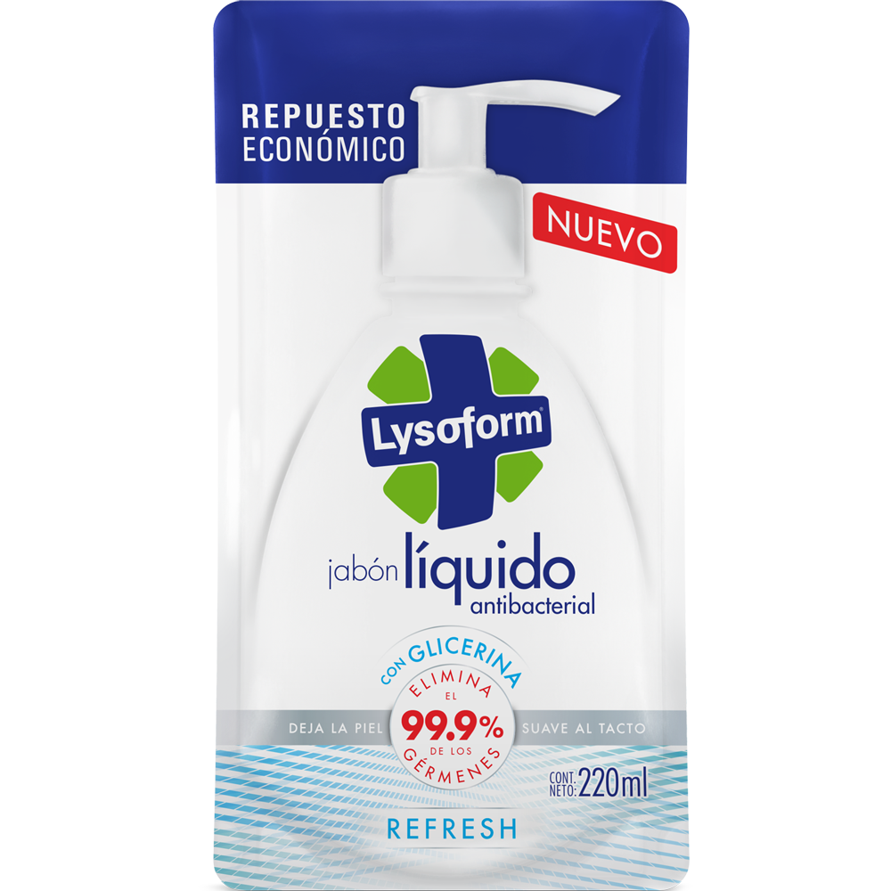lysoform jabón para manos refresh repuesto 220 ml